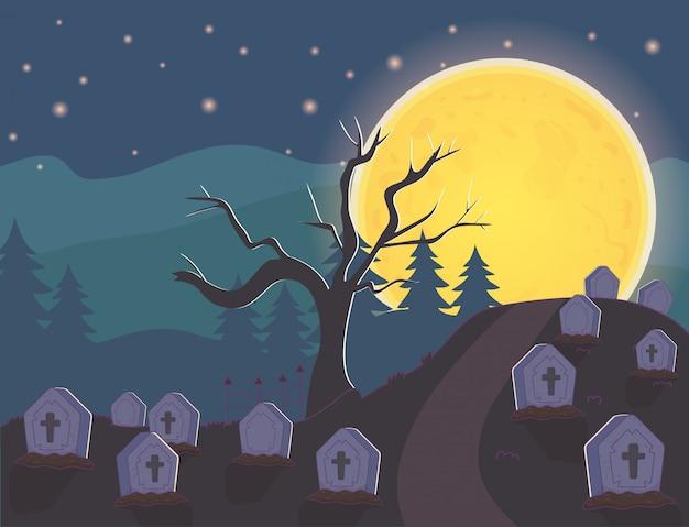 Nacht begraafplaats grafstenen maan halloween