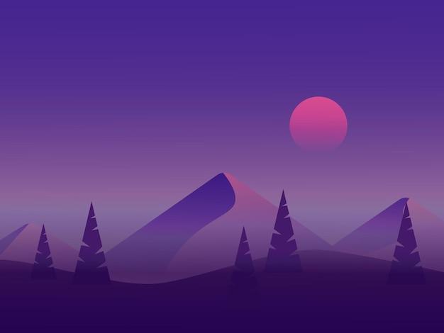 Nacht berg vectorillustratie in plat ontwerp
