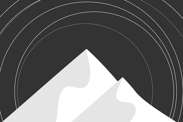 Nacht berglandschap achtergrond vector in zwart-wit