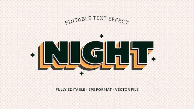Nacht bewerkbaar teksteffect in zwart