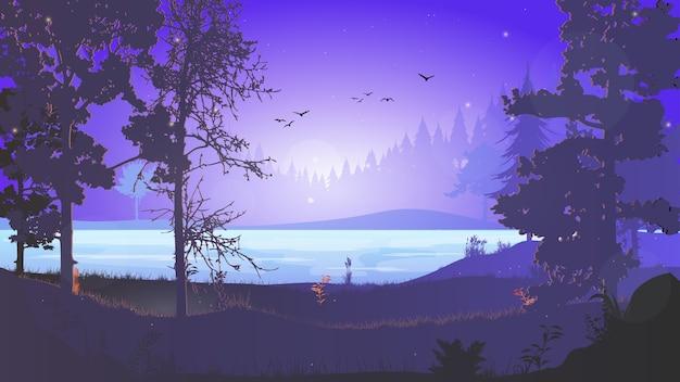 Nacht bos. boslandschap met een rivier 's nachts. nacht in het bos. dageraad in het bos. de lucht met de sterren. mooie dageraadillustratie voor advertentiebanner of achtergrond.