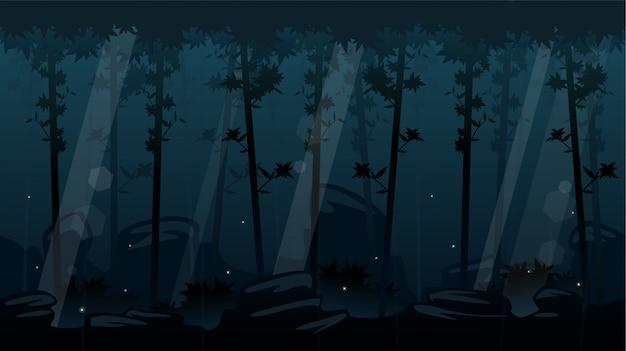 Nacht bos scrollen achtergrond
