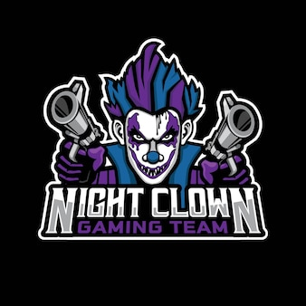 Nacht clown mascotte gaming logo ontwerp