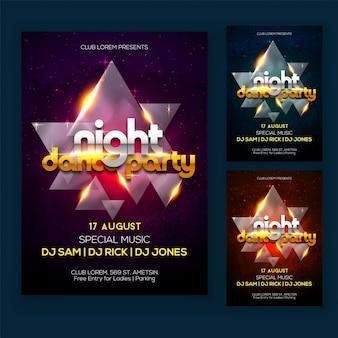 Nacht danspartij flyer of poster design in drie verschillende kleuren paars, groen en rood.