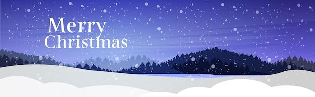 Nacht dennenbos sneeuwval, vrolijke kerstvakantie viering concept wenskaart