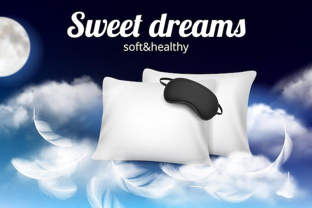 Nacht dromen poster. relax concept plakkaat met zacht, comfortabel kussen en slaapmasker op wolken