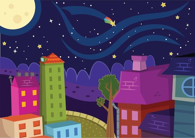 Nacht en stad vectorillustratie