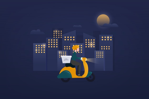 Nacht eten bezorgservice e-commerce concept door scooter koerier. hand die mobiele toepassing houdt die een levering volgt die 24 uur berijdt op een bromfiets. stadshorizon op de achtergrond,