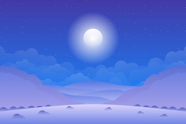 Nacht hemelachtergrond en berglandschap