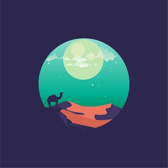 Nacht kameel platte logo ontwerp vector