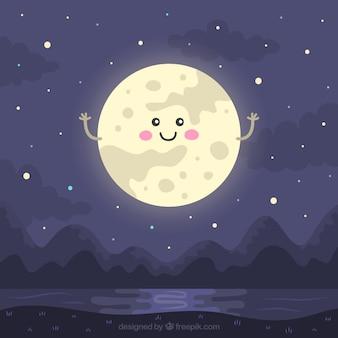 Nacht landschap met mooie maan