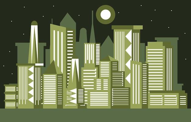Nacht maan moderne stad wolkenkrabber gebouw stadsgezicht skyline illustratie