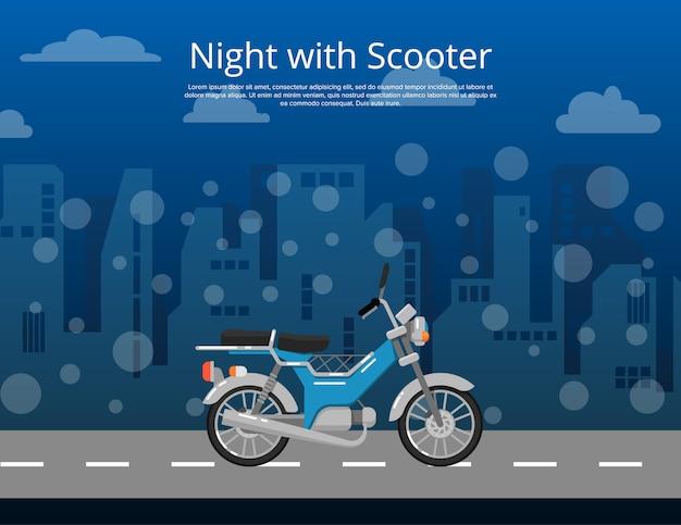 Nacht met scooter poster in vlakke stijl