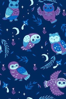 Nacht naadloze patroon met uilen.