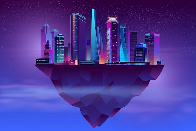 Nacht neon megapolis op stijgend eiland