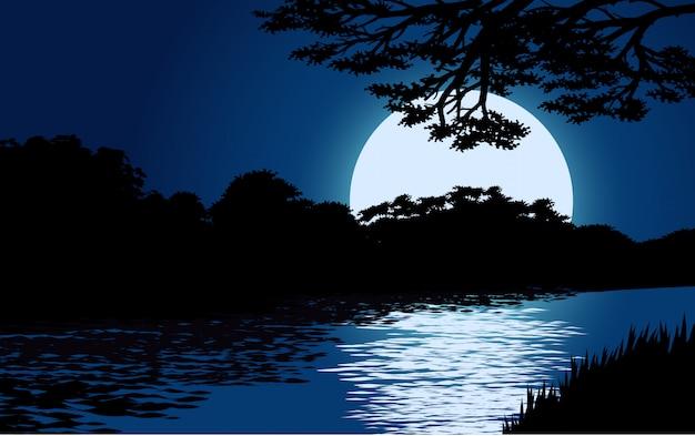 Nacht over rivier met volle maan
