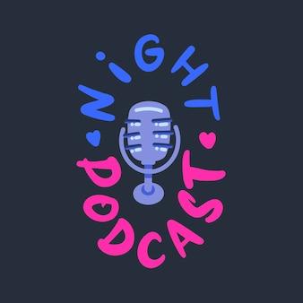 Nacht podcast microfoon icoon in platte stijl voor app decoratie. vector illustratie.