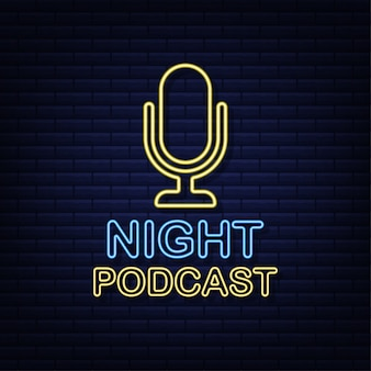 Nacht podcast. neon badge, pictogram, stempel, logo. illustratie.