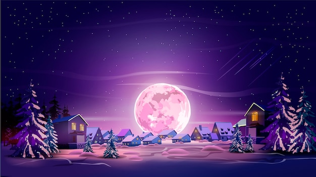 Nacht prachtig landschap met winter stad, bomen, bergen en maan. schitter met paarse maan, sneeuw en violette lucht. landschapsachtergrond voor uw kunsten