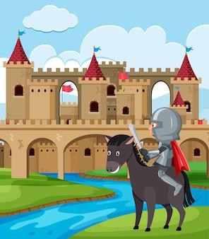 Nacht rijpaard voor kasteel