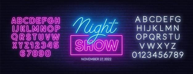 Nacht show neon teken op bakstenen muur achtergrond.