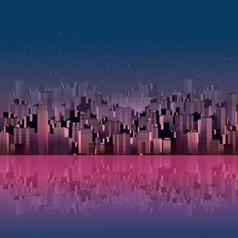Nacht stad achtergrond met reflectie