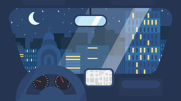 Nacht stad leven concept. stadsstraat van binnenuit auto-interieur met wiel, snelheidsmeter, gps-navigator. stedelijke landschapsbanner met gebouwen, bomen, winkel, winkels, lucht en zon.