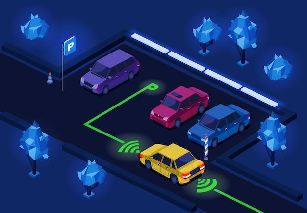 Nacht stadsauto parkeren met verlichtingstechnologie