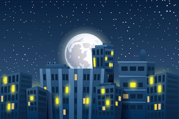 Nacht stadsgezicht met de maan. moderne wolkenkrabbers
