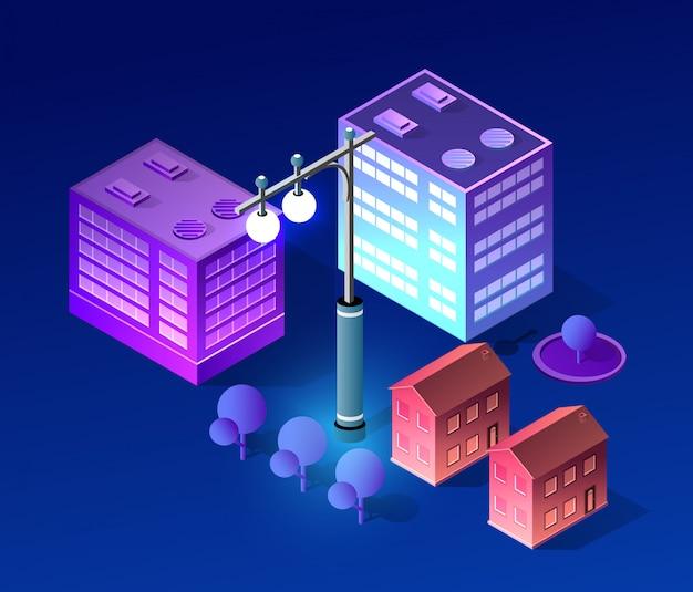 Nacht stadsgezicht ultraviolette architectuur