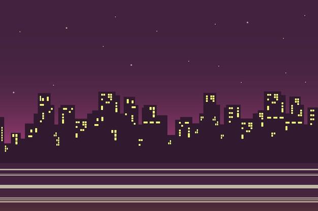 Nacht stadslandschap in vlakke stijl