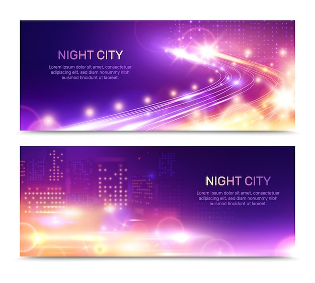 Nacht stadslichten horizontale spandoeken met gloeiende ramen van het gebouw met snelheidsautosnelweg