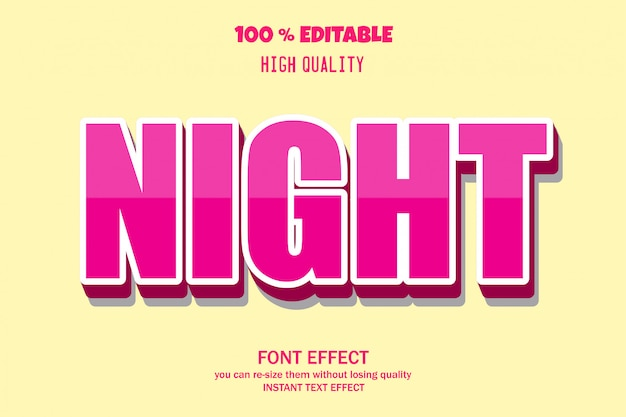 Nacht tekst lettertype effect