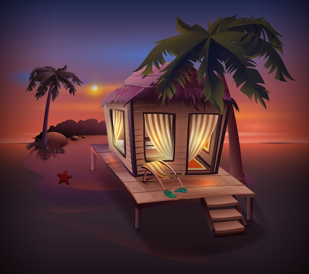 Nacht tropisch eiland. strohut onder palmbomen op oceaan kust