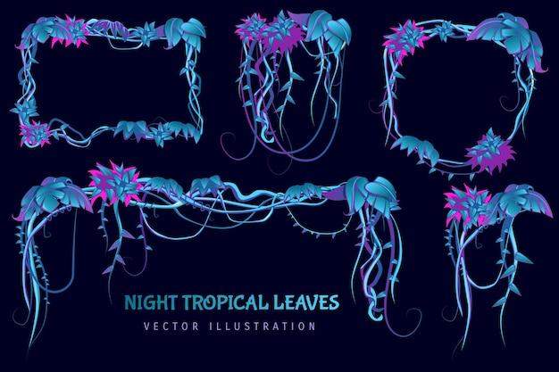 Nacht tropische bladeren cartoon set met