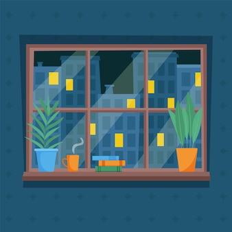 Nacht uitzicht op de stad vanuit het raam lichten in de ramen