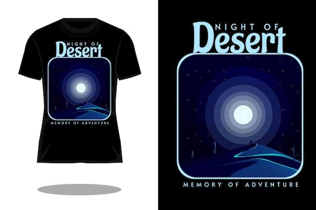 Nacht van woestijn silhouet landschap t-shirt ontwerp