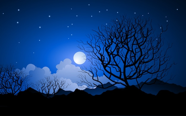 Nacht vector landschap met volle maan en kale bomen in de buurt van bergketen