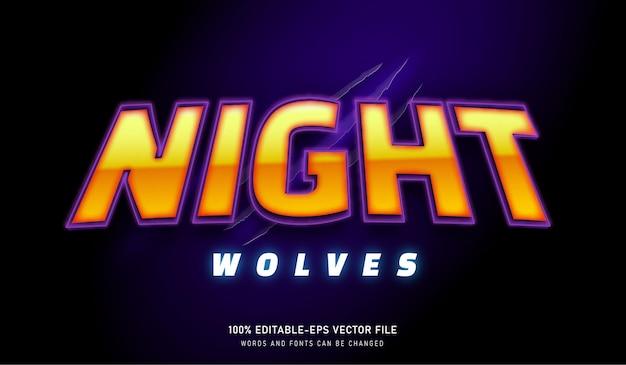 Nacht wolven teksteffect en bewerkbaar lettertype met klauwteken