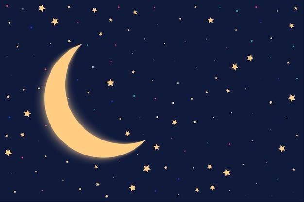 Nachtachtergrond met maan en sterren