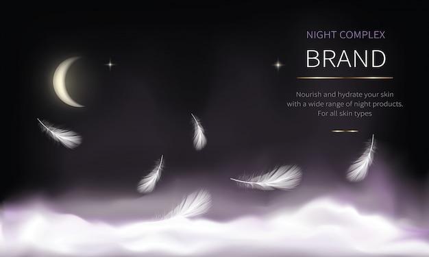Nachtachtergrond voor cosmetische producten