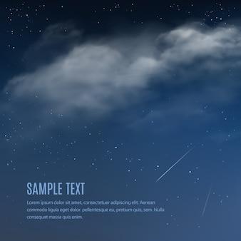 Nachtachtergrond, wolken en glanzende sterren op donkerblauwe hemel.