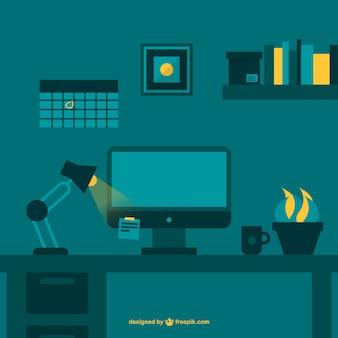 Nachtarbeid kantoorruimte flat vector