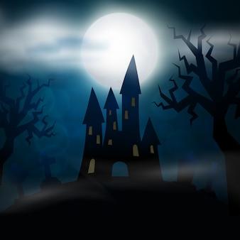 Nachtbegraafplaats, kruisen, grafstenen en graven. kleurrijke enge halloween-illustratie.