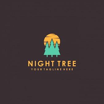 Nachtboom logo ontwerp met minimalistische stijl