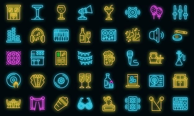Nachtclub pictogrammen instellen. overzicht set van nachtclub vector iconen neon kleur op zwart