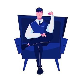 Nachtclub platte compositie met geïsoleerde afbeelding van stoel met zittende man die cocktailillustratie drinkt