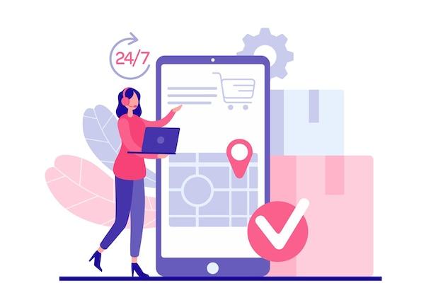 Nachtelijk klantenondersteuningsconcept. vrouwelijke personage-operator met koptelefoon en laptop accepteert bestelling specificeert klantadres. snelle levering van boodschappen in mobiele app
