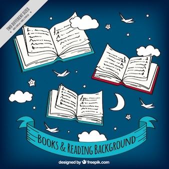 Nachtelijke hemel achtergrond met schetsen van boeken
