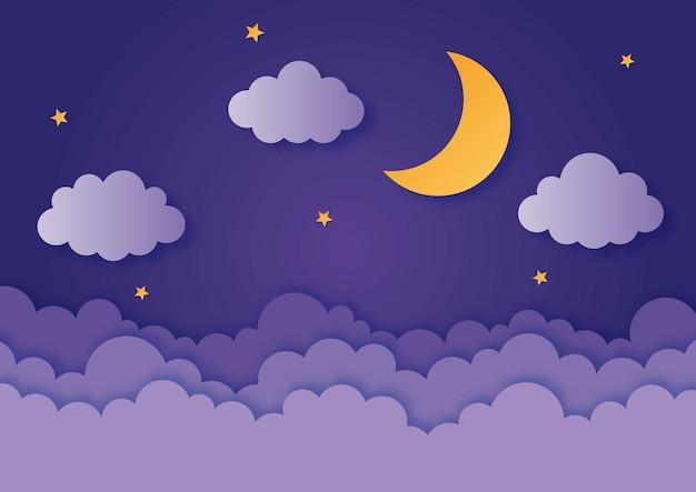 Nachtelijke hemel maan sterren en wolken in middernacht papier kunststijl